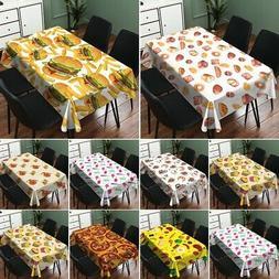 Food Pattern Checkered Waterproof Tablecloth Linen Picnic Ta