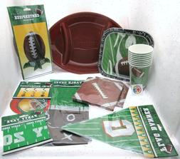 football party decor tray plates cups banner
