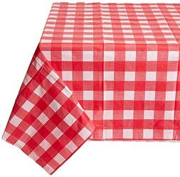 "54"" X 108"" Gingham Checkerboard Disposable Rectangular Plast"