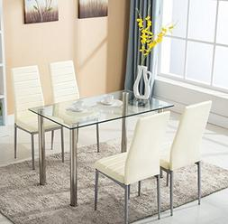 Mecor Glass Dining Table Set, 5 Piece Kitchen Table Set with