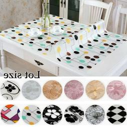Glass PVC Tablecloth Dinning Table Cover Protector Desk Mat
