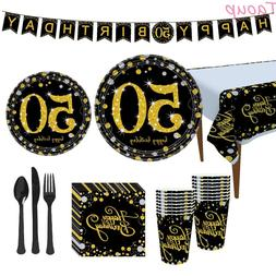 Taoup Gold 50th Birthday Party Tableware Cups Plates Towels
