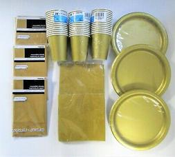 Gold Party Tableware Pack for 40 Guests - Golden Plates Cups