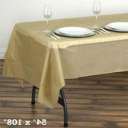 "Gold RECTANGLE 54x108"" Disposable Plastic TABLE COVER Tablec"