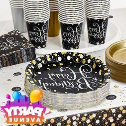 Gold Sparkling Celebration Birthday Tableware Napkins Plates