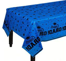 GRADUATION Party BLUE  plastic TABLE COVER 1 tablecloth scho