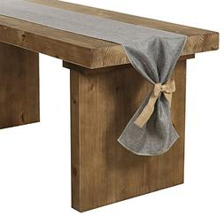 Ling's moment Gray Burlap Table Runner 14 x 132 Inch with Bo