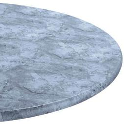 Gray Marbled Round Elasticized Tablecloth Table Cover Vinyl