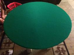 "Green Poker Felt Table cover - fits 48"" round table - elasti"