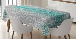 Grey and Teal Tablecloth Mandala Ombre Rectangular Table Cov