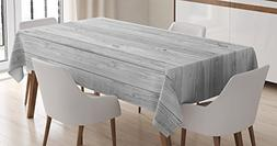 Ambesonne Grey Decor Tablecloth, Picture of Smooth Oak Wood