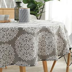 ColorBird Grey Medallion Tablecloth Cotton Linen Dust-Proof