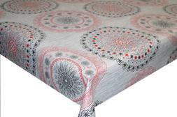 Grey Morocco Circles PVC Tablecloth Vinyl Oilcloth Kitchen D