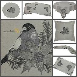 Grey Table Cloth/Runner Doily Cushion Cover Linen-look Winte