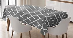 Grey Tablecloth by Ambesonne, Quatrefoil Pattern Barbed Desi