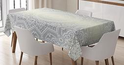 Ambesonne Grey and White Tablecloth, Ritual Icon of Ethnic C