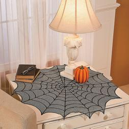 Halloween Lace Black Spiders Web Table Cover Table Cloth Par