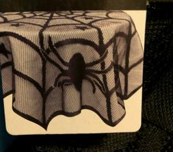 """Halloween Lace-Like Table Cover Spider Design 40"""" Diameter"""