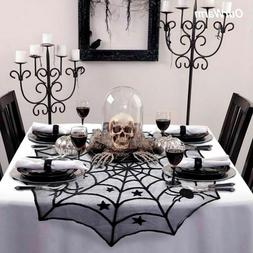 Halloween Party Black Lace Spiderweb Table Cloth 100cm Table