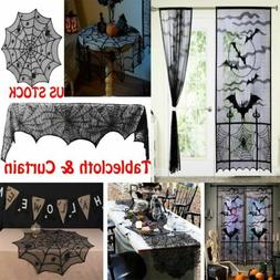 Halloween Table Cover Bat Spiderweb Lace Window Curtains Tab