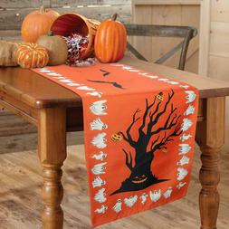 Halloween Table Runner Linen Bats Table Cover Pumpkin Ghost