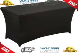 HAORUI Rectangular Spandex Table Cover 6 ft. Black