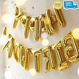 Happy Birthday Balloons, OUTGEEK Happy Birthday Banner Foil