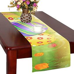 Artsadd Happy Easter Colorful Eggs Kitchen Dining Table Runn