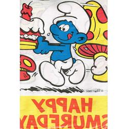 SMURFS Happy Smurfday PAPER TABLE COVER ~ Birthday Party Sup