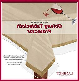LAMINET Heavy Duty Deluxe Clear Vinyl Tablecloth Protector