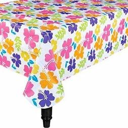 "AmscanHibiscus Flannel-Backed Party Table Cover, 52"" x 90"" F"