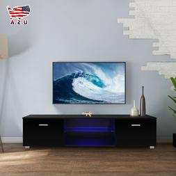 High Gloss Black LED Shelves TV Stand Unit Cabinet 2 Drawers