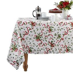 ColorBird Holiday Tablecloth, Red Ribbon Fabric Table Cover