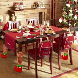 Home Decor Elf Santa Chair Cover Leg Boots Covers Sleeve Tab