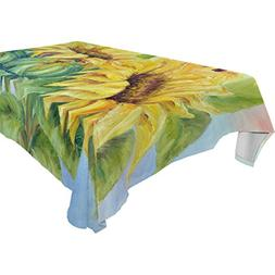 Aideess Home Decoration Sunflower Polyester Tablecloth 60 X