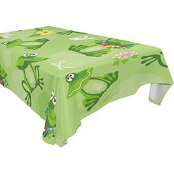 Aideess Home Decoration Water Lily Funny Frog Polyester Tabl