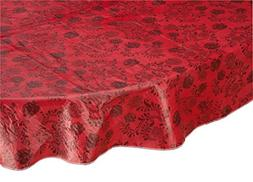 Home Style Kitchen Floral Drop Vinyl Table Cover, Oval, Red
