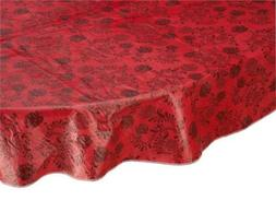 Home Style Kitchen Floral Drop Vinyl Table Cover, Oval, 54""