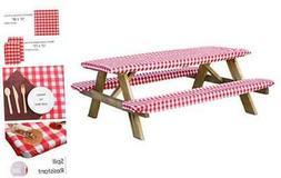 Houseables Picnic Table & Benches Cover, Fitted Tablecloth w