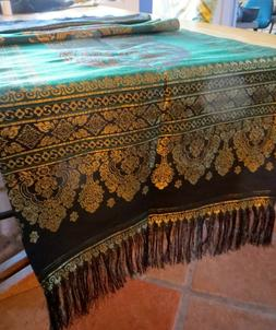 "Indian ""Silk"" Table Runner Brocade Design Table Cover"