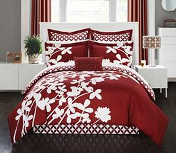 Chic Home 11 Piece Iris Reversible large scale floral design