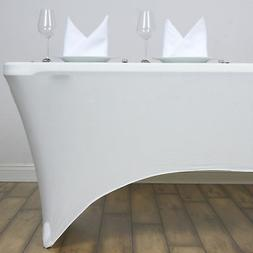 Ivory 8 ft RECTANGLE SPANDEX STRETCH TABLE COVER Fitted Tabl