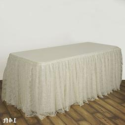 Efavormart Ivory Dual Layer Lace Polyester Table Skirt 14FT