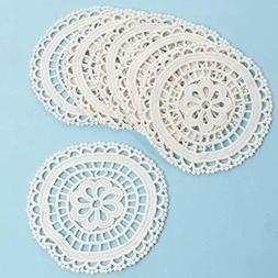 "5"" Ivory Round Cotton Hand Crocheted Lace Doilies, Set of 12"