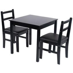 Kitchen Dining Table Set Durable Wooden Chairs Cushioned Cov