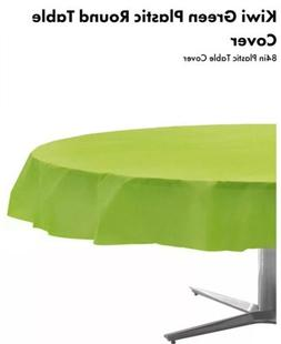 Amscan Kiwi Green Plastic Round Table Cover 84in Plastic Tab