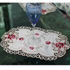 yazi 1/4PCS Embroidered Peony Placemat Lace Oval Doily Dinni