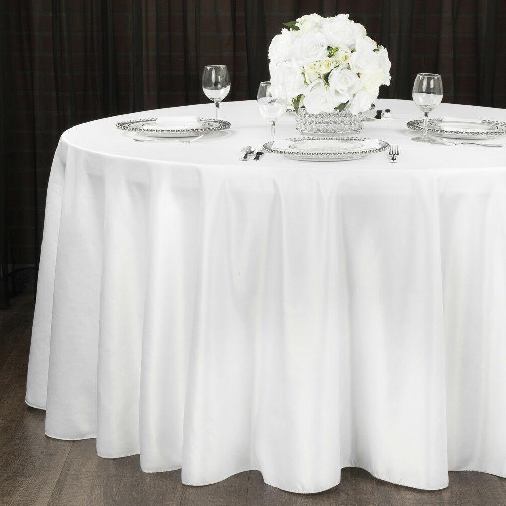 "1 to White 120"" Tablecloth Polyester Table Cover"
