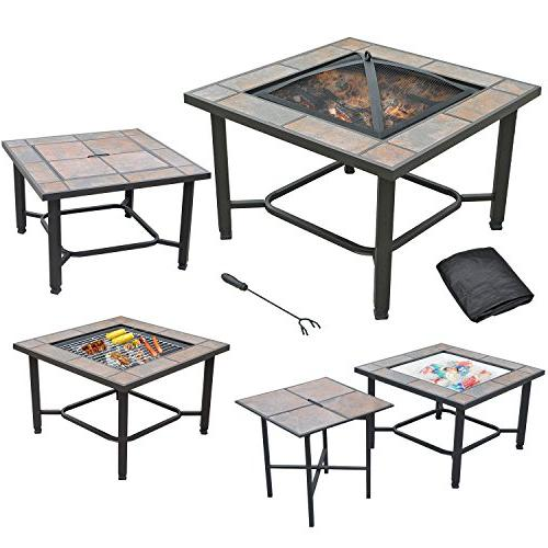 Grill And Coffee Table With Cover Cooler Axxonn 4 In 1 Rectangular Tile Top Fire Pit