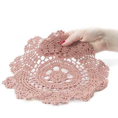 10 rose pink round cotton hand crocheted